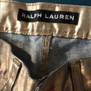 Ralph Lauren Metallic gold jean shorts